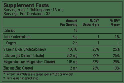 ChildLife Liquid Calcium with Magnesium for Babies, Toddlers and Children Dietary Supplement Label